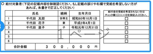 総務省の特別定額給付金の記入の仕方